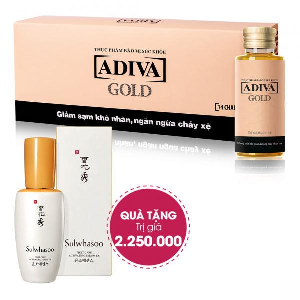Combo 4 Dưỡng Chất Uống Làm Đẹp Adiva Gold (14 lọ/hộp) + Quà Tặng: 1 Tinh Chất Dưỡng Da Sulwhasoo First Care Activating Serum (90ml) Trị Giá 2.550.000 Đ