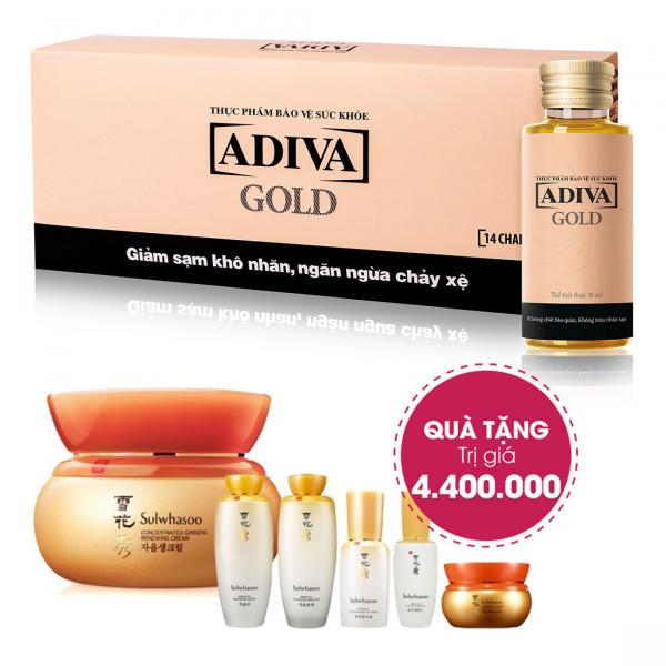 Combo 4 Dưỡng Chất Uống Làm Đẹp Adiva Gold (14 lọ/hộp) + Quà Tặng: 1 Kem Nhân Sâm Cô Đặc Sulwhasoo Concentrated Ginseng Renewing Cream (50g) Trị Giá 4.400.000đ