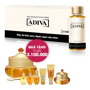 Combo 4 Dưỡng Chất Uống Làm Đẹp Adiva (14 lọ/hộp) + Quà Tặng 1 Combo Sản Phẩm Dưỡng Da Whoo Qi & Jin Set Trị Giá 3.100.000Đ