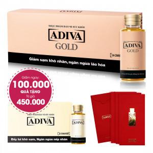 Combo 2 Dưỡng Chất Uống Làm Đẹp ADIVA GOLD (hộp 14 chai) Giảm Ngay 100.000đ + Quà Tặng: 1 Dưỡng Chất Uống Làm Đẹp Adiva (8 lọ/hộp) + 3 Bao Lì Xì Adiva ( Bao 6 cái). Tổng Giá Trị Quà Tặng 550.000đ