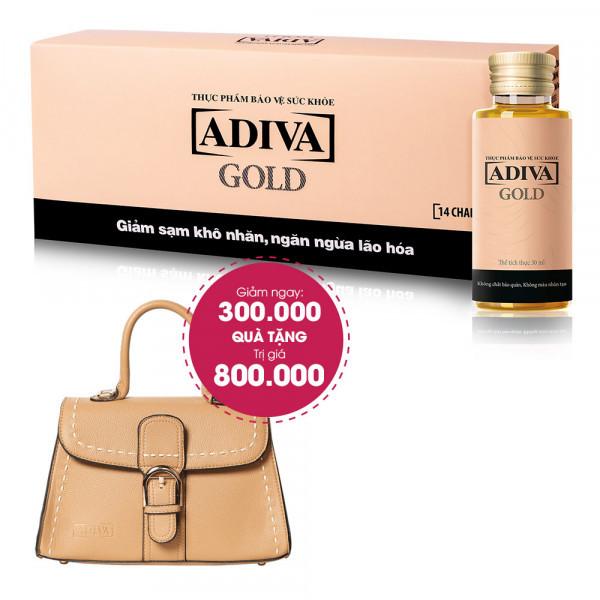 Combo 3 Thực Phẩm BVSK Adiva Gold (14 lọ/hộp) Giảm Ngay 300.000đ + Quà Tặng: 1 Giỏ Xách Adiva Khóa Giữa Viền Chỉ Trắng. Tổng Giá Trị Quà Tặng 1.100.000đ