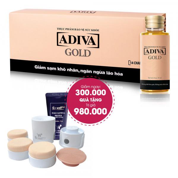 Combo 3 Thực Phẩm BVSK Adiva Gold (14 lọ/hộp) Giảm Ngay 300.000đ + Quà Tặng: 1 Set Máy Massage Rửa Mặt & Đánh Phấn Nền 2 trong 1 Yufit-1. Tổng Giá Trị Quà Tặng 1.280.000đ